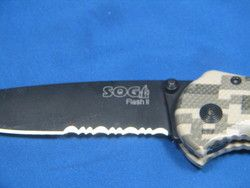 New SOG Flash II Digi Camo 1 2 Serr Black TINI Assisted Open Knife