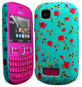 Floral Hard Shell Back Case Cover Skin for Nokia Asha 201