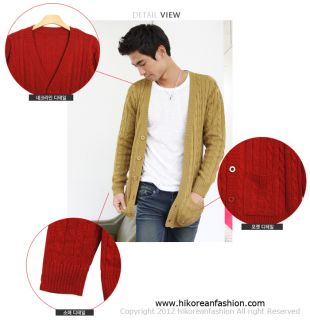 Hi Korean Fashion Cable Knitted Cardigans Mens Sweaters Tops Vintage