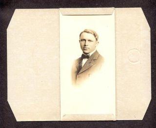 Antique Photo Handsome Man Portrait Trifold Folio Frame Button Pin C