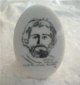 Vintage Jesus Face of Christ Etched Plaque Joe Castillo