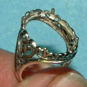 Oval Filigree Cabochon Sterling Silver Ring Setting Casting