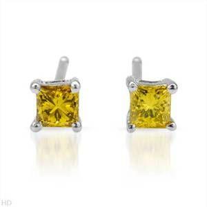 Canary Yellow Diamond 10K White Gold Stud Earings 1 5 Caret
