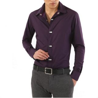 New Mens Luxury Stylish Shirt Mens Casual Dress Slim Fit Shirts 3