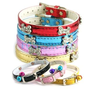 Leather Bling Bone Buckle Pet Dog Cat Collar Colorful Size s XS