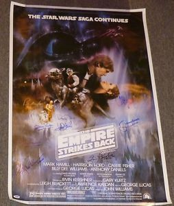Mark Hamill Carrie Fisher Signed Star Wars Empire Strikes Back Poster