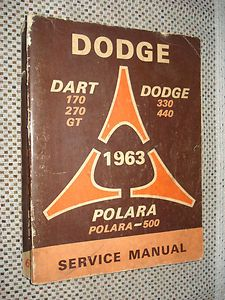 1963 Dodge Service Manual Original GT Dart Polara Shop Book 330 440