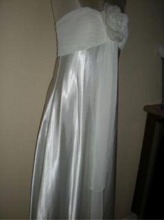 Oleg Cassini Ivory Satin Strapless Evening Gown Wedding 12