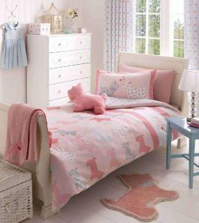 Pink Scottie Dog Double Duvet Cover Pillowcase Set Young Girls Bedding