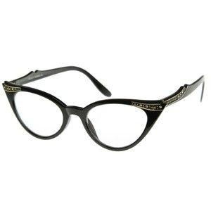 RETRO STYLE BLACK FRAME CLEAR LENS GLASSES CAT EYE WOMENS EYEGLASSES