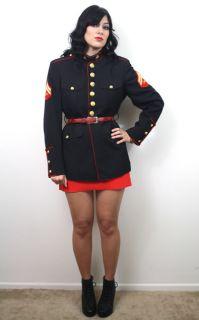 Vtg Military Marines Dress Blues Brass Button Blk Sgt Pepper Uniform