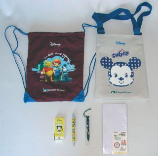 CATHAY Pacific Airlines Disney Canvas Backpack + Mickey Mouse Bag