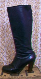FIORENTINI + BAKER Womens Black Leather Side Zip Stacked Heel Adorable