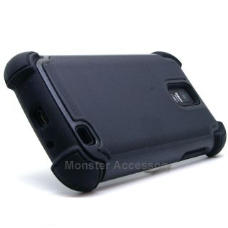 Black X Shield Double Layer Hard Case Gel Cover Samsung Galaxy S2