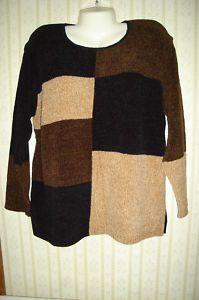 Sz L G Carolyn Taylor Black Brown Tan Chenille Sweater
