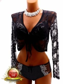 Women Catherine Black Long Sleeves Lace Shrug Bolero Crop Cardigan 8