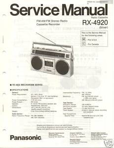 Original Service Manual Panasonic RX 4920 Radio Cass