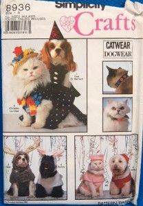 OOP Cute Pet Dogs Cats Costumes Cat Collars Sewing Pattern Simplicity