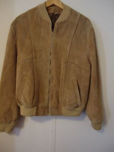 Mens Light Brown Suede Leather Jacket Lined Size 38 40