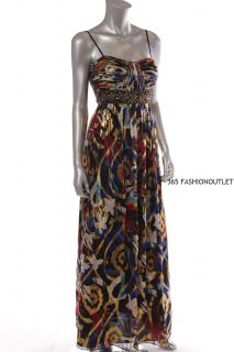 Oleg Cassini New Womens Beads Chiffon Evening Dress Gold Multi GLM