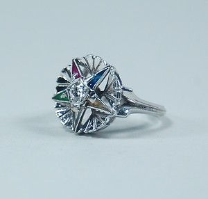 EASTERN STAR LADYS RING   10K WHITE GOLD WITH CENTER DIAMOND