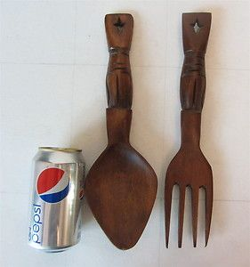 Wood Hand Carved Fork and Spoon Wall Decor Vintage totem pole TIKI 12