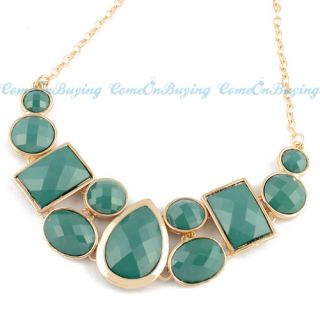 Colors 2012 Fashion Golden Chain Water Drop Oval Resin Beads Pendant