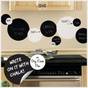 Set 31 Black White Chalkboard Dry Erase Dots Circle Decals Functional