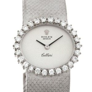 Rolex Cellini Vintage Ladies 18K White Gold Diamond Watch