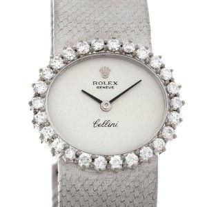 Rolex Cellini Vintage Ladies 18K White Gold Diamond Watch