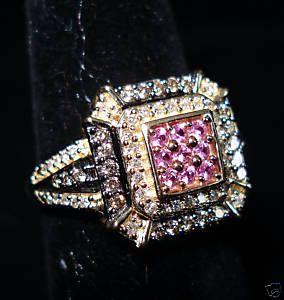 Champaign White Diamond Pink Sapphire 14k YG Ring