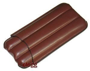 Castleford Brown Leather 3 Cigar Case New