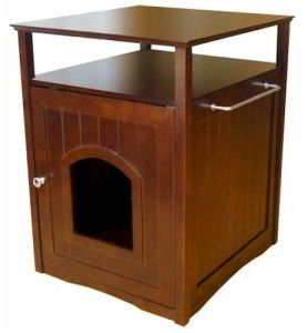 New Hidden Cat Litter Box Kitty POO Table Piece Pet Cabinet Table