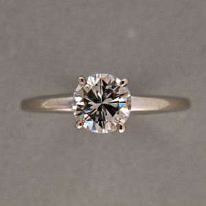 96ct J VS2 Brilliant Cut Center Diamond 14k White Gold 4 Prong Ring