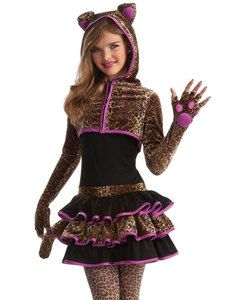 Young Girls Cute Leopard Kitty Cat Animal Tween Kids Halloween Costume