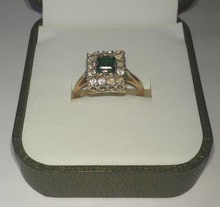 Gold Ladies Ring Art Deco Square Mount Emerald Ideal Xmas Gift