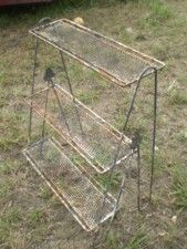 Vintage Eames Era Mid Century Mesh Tiered Plant Stand