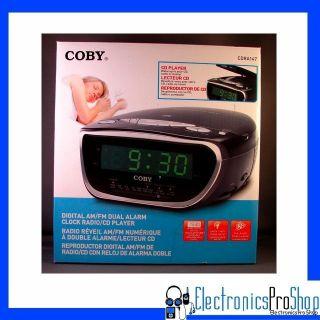 coby cdra147 digital am fm dual alarm clock radio cd player black. Black Bedroom Furniture Sets. Home Design Ideas