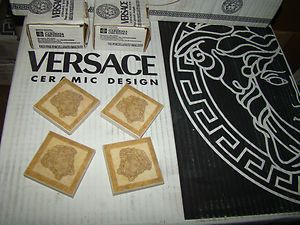 VERSACE HOME PORCELAIN MEDUSA HEAD GOLD CERAMIC TILE ACCENT FLOOR WALL