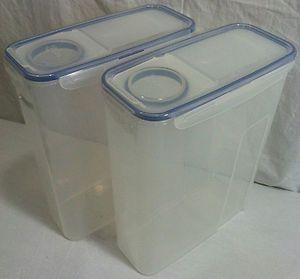 Lock 2 Piece Flip Top Cereal Storage Bin Container Set w Clear Lids