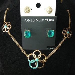 GOLD TONE TURQUOISE FLOWER LONG NECKLACE CHAIN + FREE EARRINGS