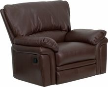 Brown Leather Recliner Home Office Chair Plush Overstuffed Oversized