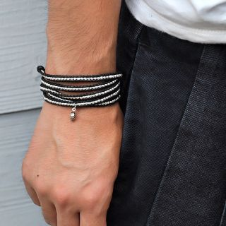 Chan Luu Black Sterling Silver Nuggets Wrap Bracelet with Skull Charm