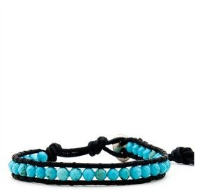 NWT CHAN LUU TURQUOISE BEAD STERLING SILVER LEATHER WRAP BRACELET