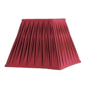 Wide Square Clip on Chandelier Lamp Shade Red Faux Silk Fabric