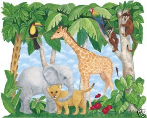 Nursery Baby Jungle Animals Wallpaper Decor Mural 6 x 7 5 259 72001