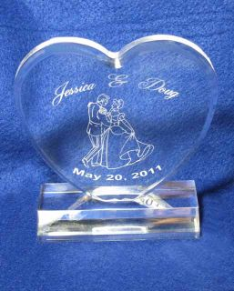 Crystal Cinderella Heart Wedding Cake Topper Personalized Engraved