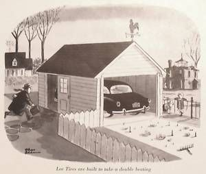 Charles Addams 1953 Magazine Ad Lee Tires Family