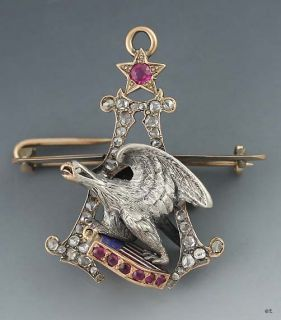 ANTIQUE 14K GOLD RUBY DIAMOND ANHEUSER BUSCH BREWMASTERS PIN