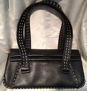 Charles David Handbag Purse Baguette Leather Black White Stitches x